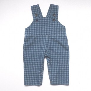 Baby Dungarees - Blue Check