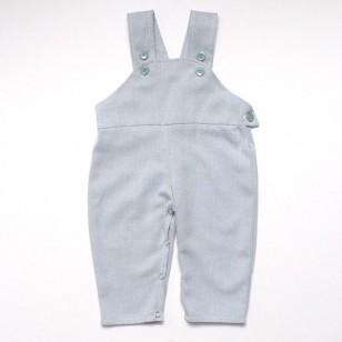 Baby Dungarees - Blue herringbone