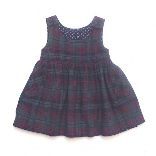 Navy Flower Reversible Pinafore